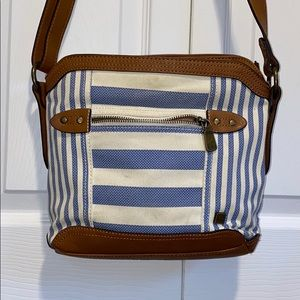 Blue and white and brown b.o.c. Cross body purse